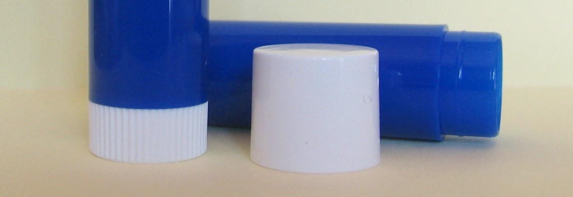Lippenstifthülse mit Deckel, blau