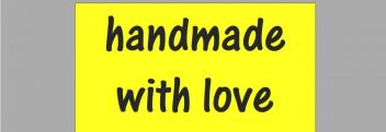 """Etiketten """"handmade"""" gelb"""
