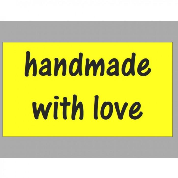 """Etiketten """"handmade"""" gelb     65Stück"""