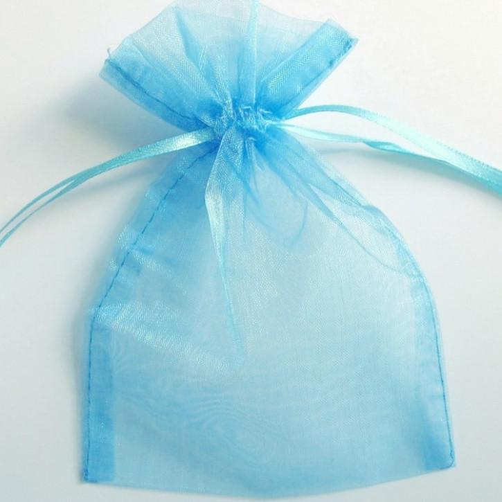 Organzabeutel 15x10cm azurblau,   10Stück