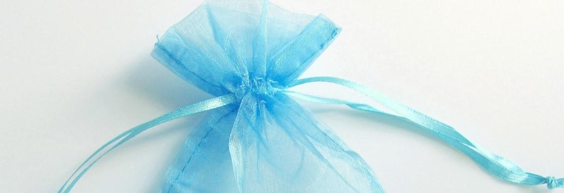 Organzabeutel azurblau 15x10cm